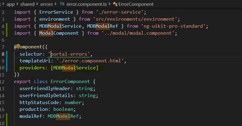 Had to add providers: MDBModalService to my component.