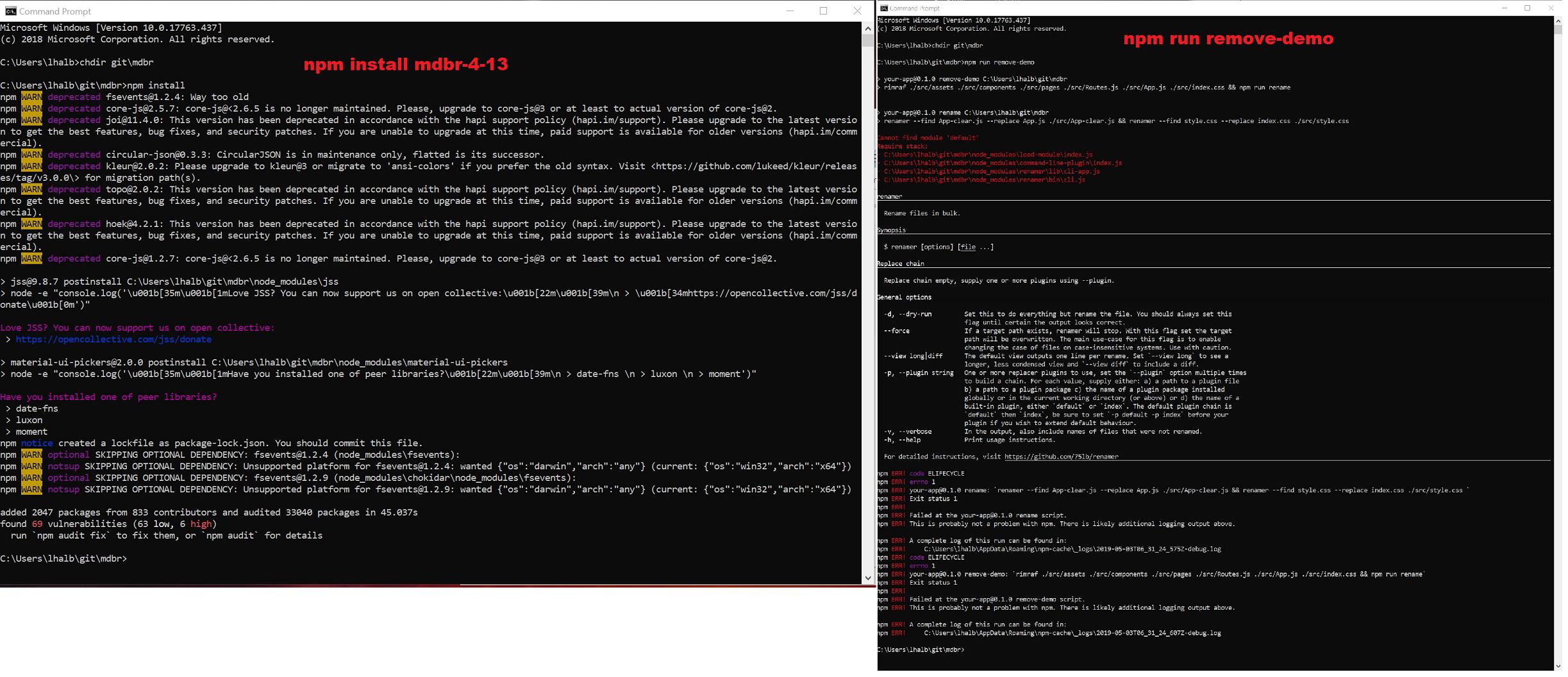 Left: install; right: remove-demo